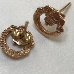 Jewelry - 14K gold Irish claddagh earrings